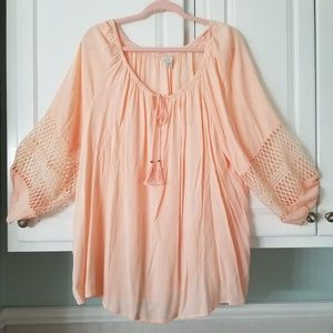 Cato 22/24w peach tasseled boho Simi sheer blouse